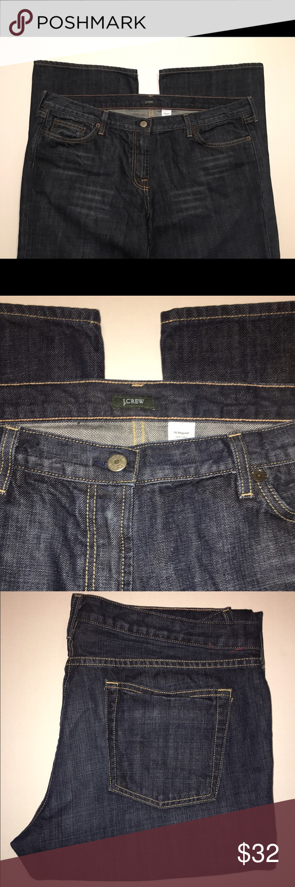 J. Crew Dark wash Bootcut Jeans size 16 regular Cotton. Bootcut fit. Sits below waist, straight through hip and thigh, with a bootcut leg. Zip fly. Traditional 5-pocket styling. J. Crew Jeans Boot Cut