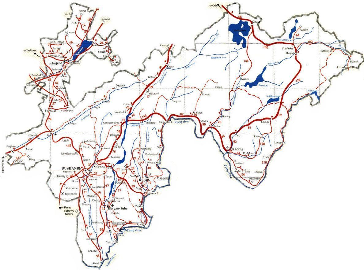 Tajikistan Roadmap Httpnsovhnetmapscentralasia - Middle east map dushanbe