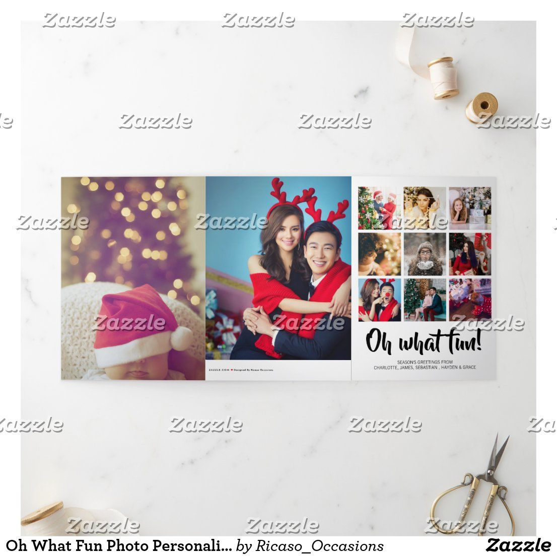 Oh What Fun Photo Personalized Christmas Tri Fold Holiday Card Zazzle Com Folded Holiday Cards Personalized Christmas Holiday Cards