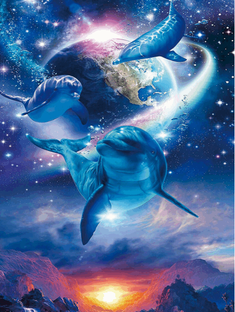Amazing art of dolphins in the stars Dolphin art