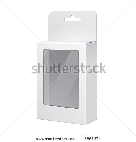 white cardboard, clear front
