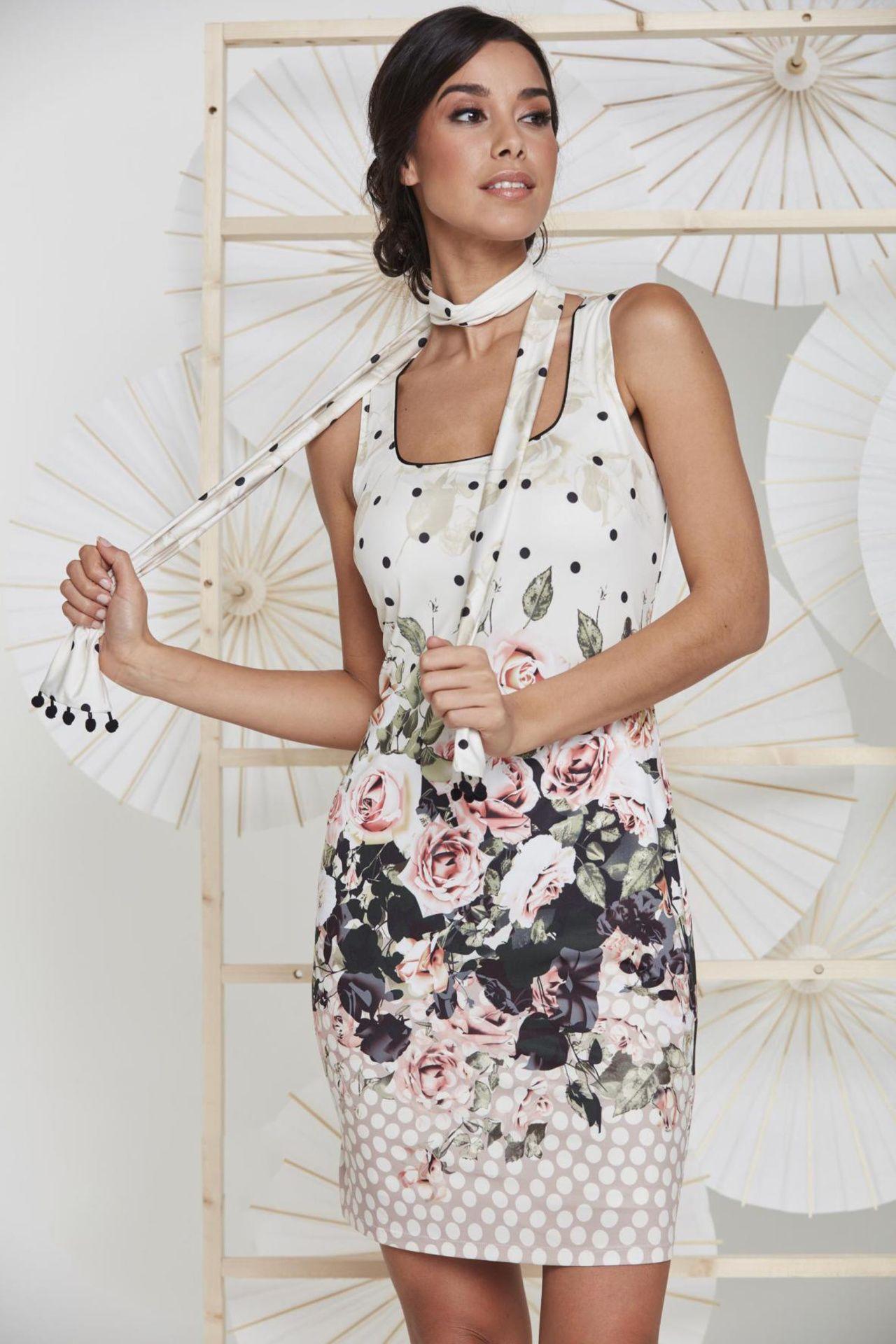 9be7e03705d0fd jurk met rozenprint en sjaaltje - K-design - n844