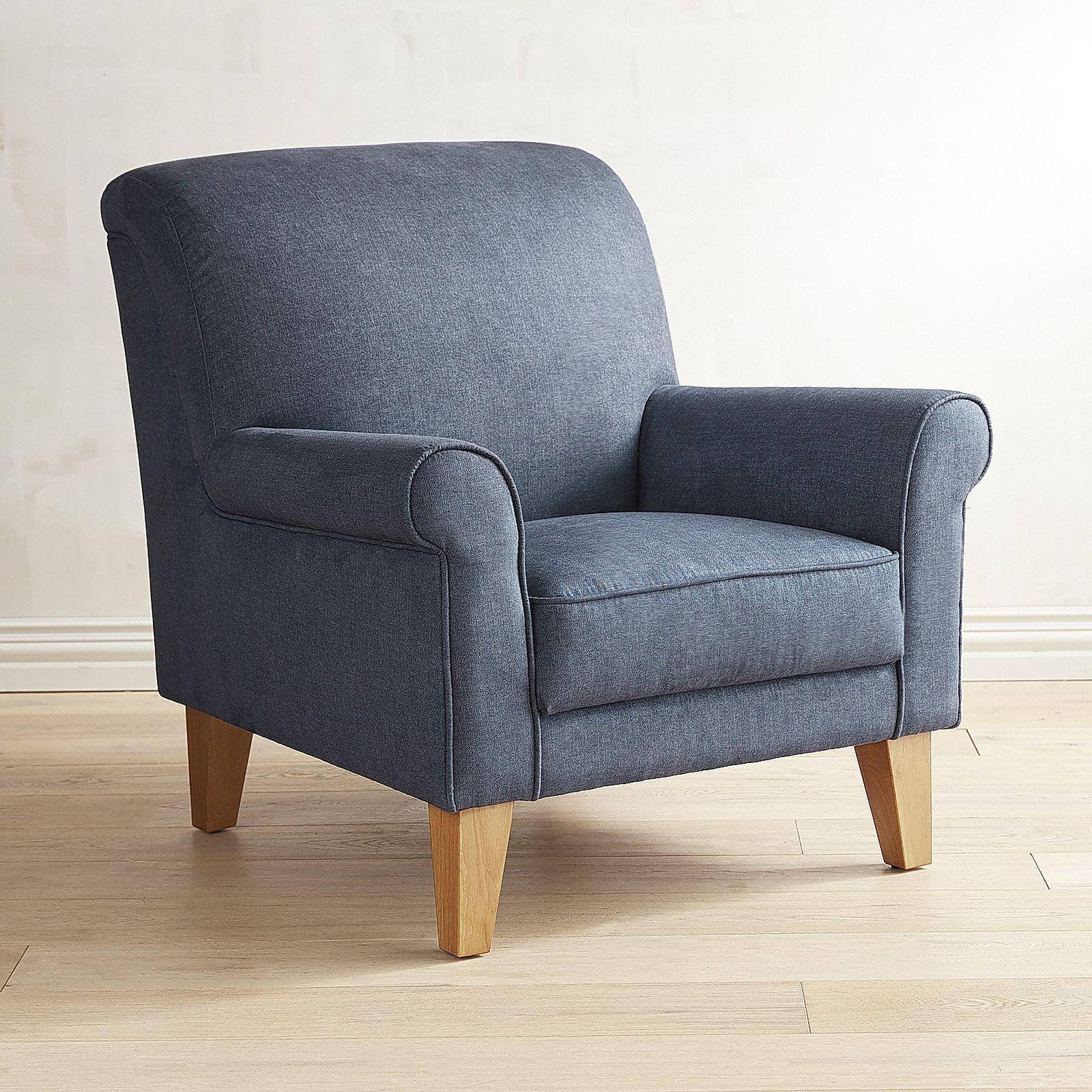 Merveilleux Lyndee Denim Blue Rolled Armchair