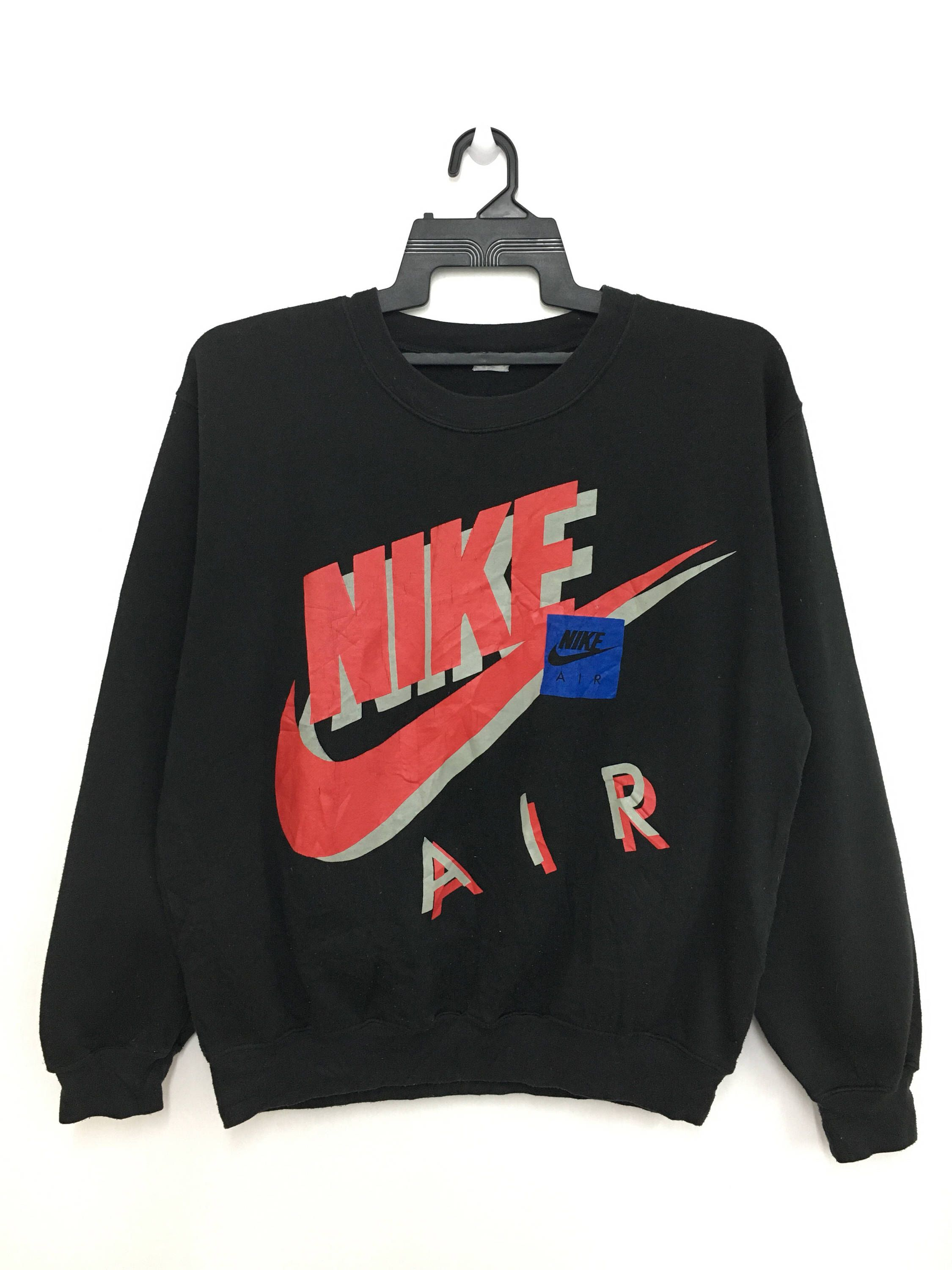 0b4f7b98 Excited to share this item from my #etsy shop: Rare!! Vintage 90's NIKE AIR  Sweatshirt Big Logo Jumper Black Color #clothing #hoodie #black #sweater ...