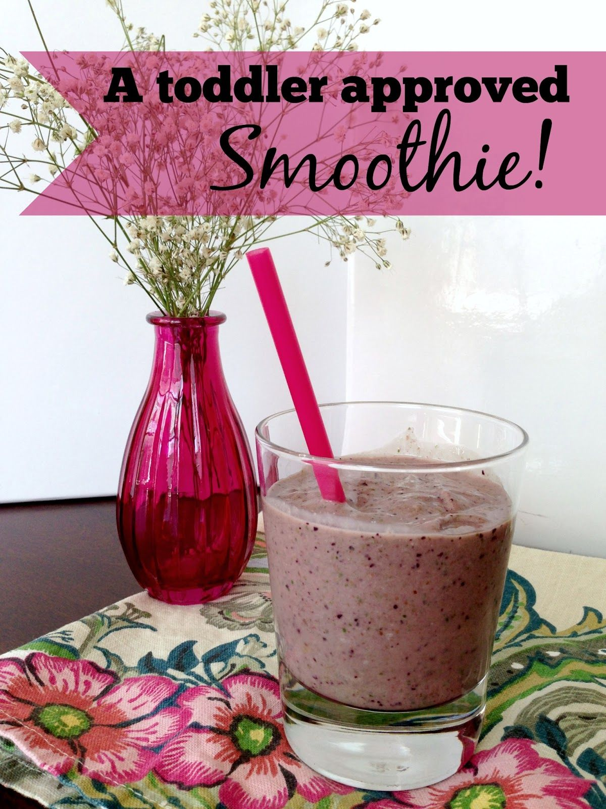 A toddler approved smoothie! Blueberries, spinach, coconut oil, Greek yogurt, flax seeds!