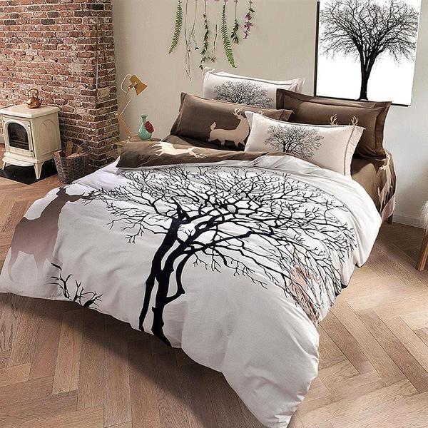 Tree Deer Duvet Set Bed Linens Luxury Bedding Sets Queen Bedding Sets