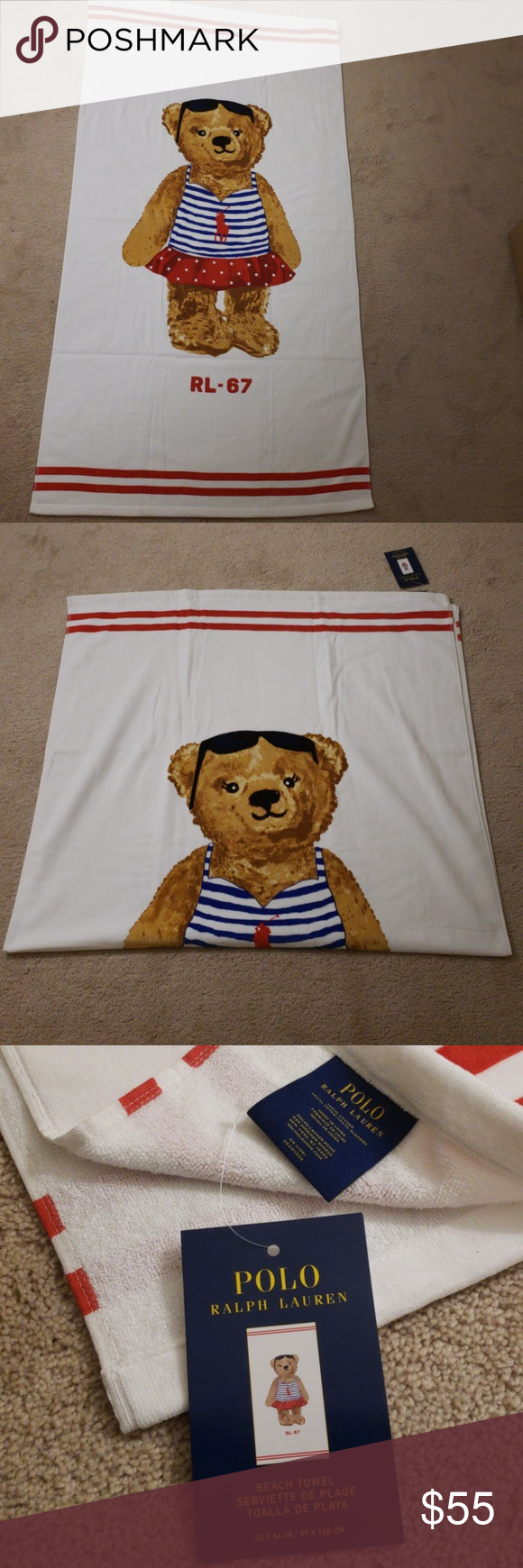 Polo Ralph Lauren Oversized Beach Towel Nwt With Images