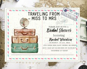 traveling from miss to mrs travel theme bridal shower invitations travel bridal shower invite bachelorette invitation travel themed invite