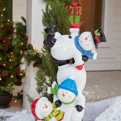 Outdoor 50 Resin Stacking Snowmen Ceramica Pintada Pintar