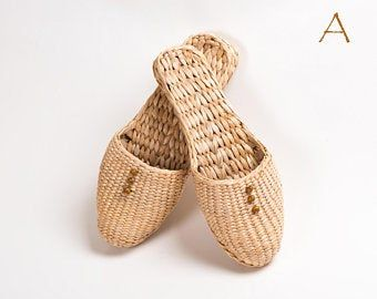 Photo of Indoor straw slippers gift shoes slippers house warming gift spa eco friendly mother's day gift lounge wear