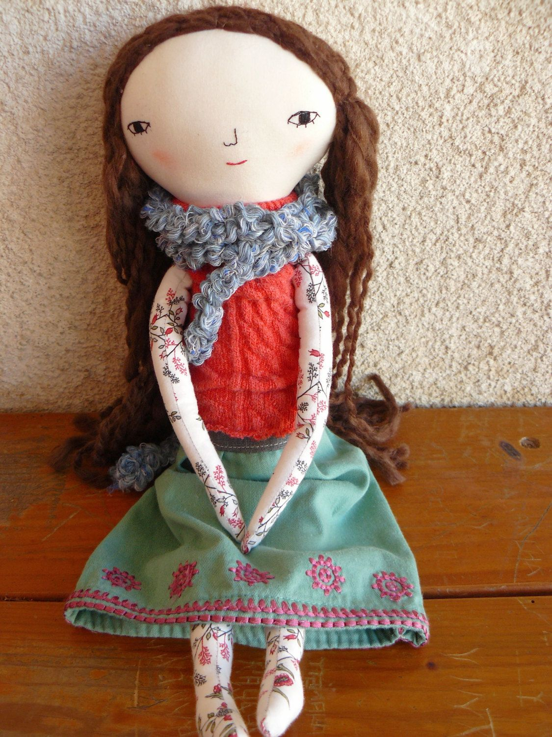 Big size doll in cotton canvas with reversible face (awake and asleep)