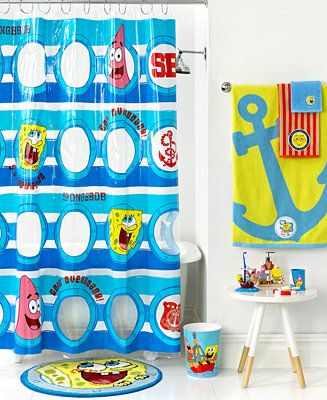 Nickelodeon Bath, SpongeBob Set Sail Shower Curtain - Bathroom ...