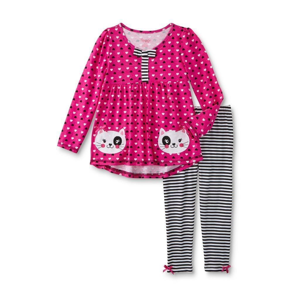 78d0ca2a6255 Nanette Girls Tunic Leggings 2 Piece Set Hearts Striped Cats Kids size 5 NEW