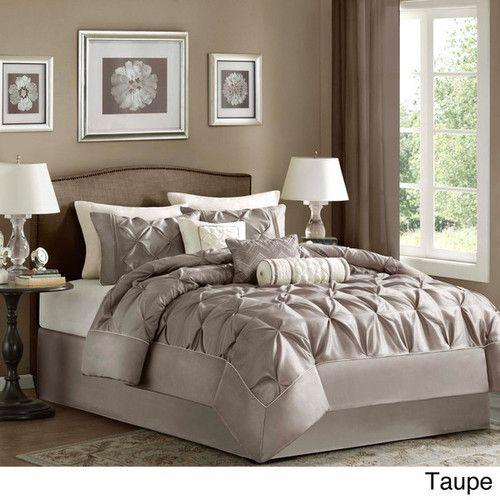 Beautiful Modern Ivory White Tan Taupe Stripe Leaf: Beautiful 7pc Modern Taupe Brown Ivory Textured Comforter