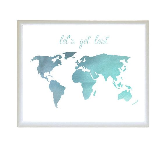 Instant download watercolor blue world map lets get lost instant download watercolor blue world map lets get lost poster wall print home decor typography word quote gumiabroncs Image collections
