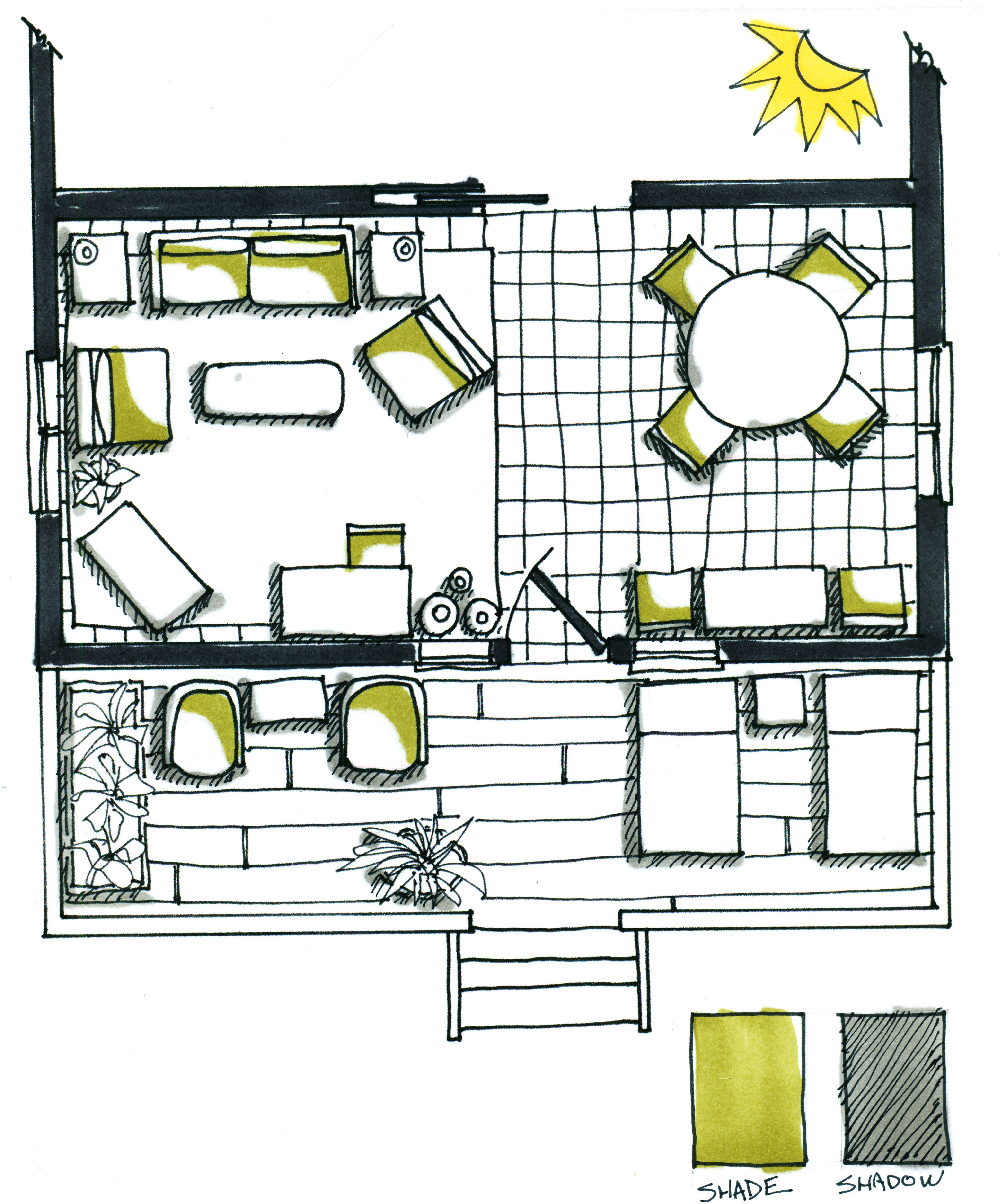 Floor plan shade & shadow | Rendered floor plan, Interior ...