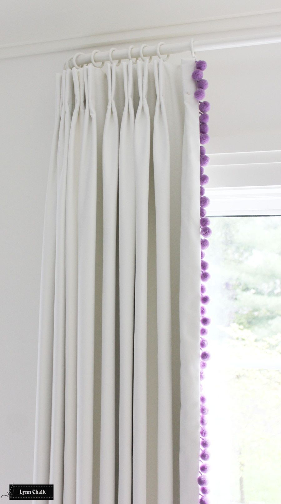 White Linen Drapes And Samuel And Sons Dolce Pom Pom Trim Shown