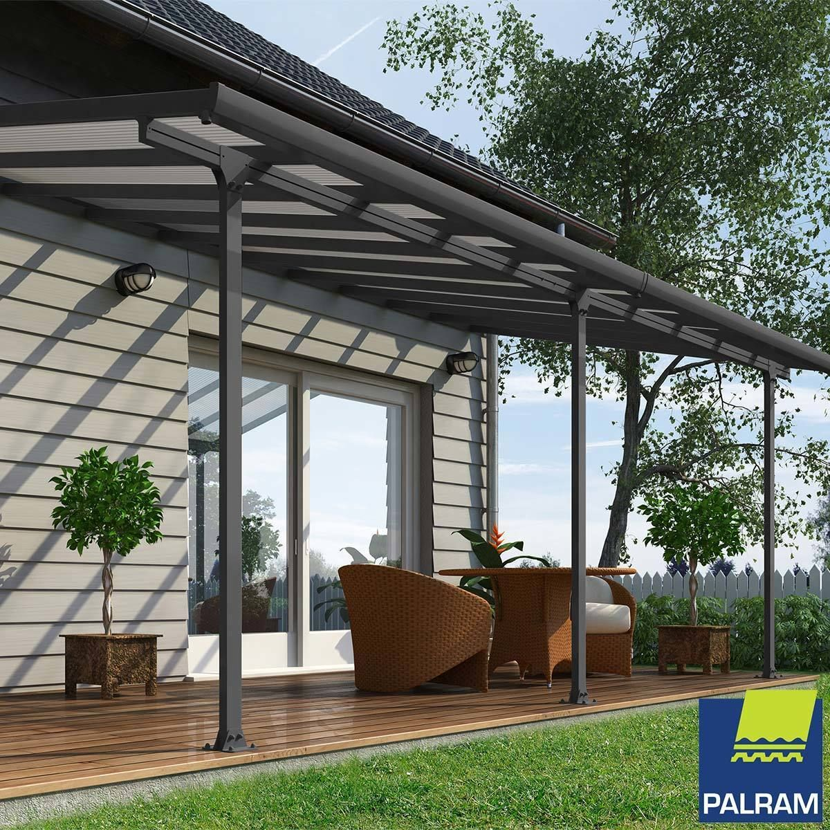 Palram Feria 3 Veranda Patio Cover In Grey 3 X 6 10m Garden