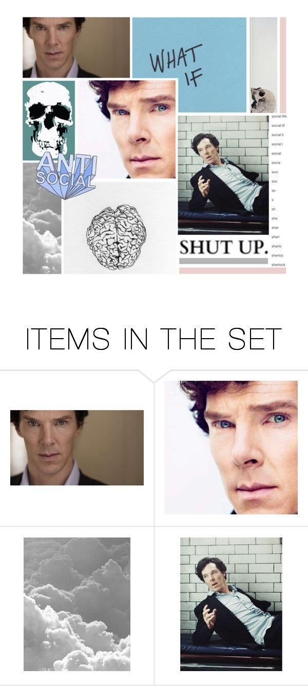 """""""Sherlock BBC"""" by chiara221 ❤ liked on Polyvore featuring art, Blue, sherlock, benedictcumberbatch, moodboard and SherlockBBC"""
