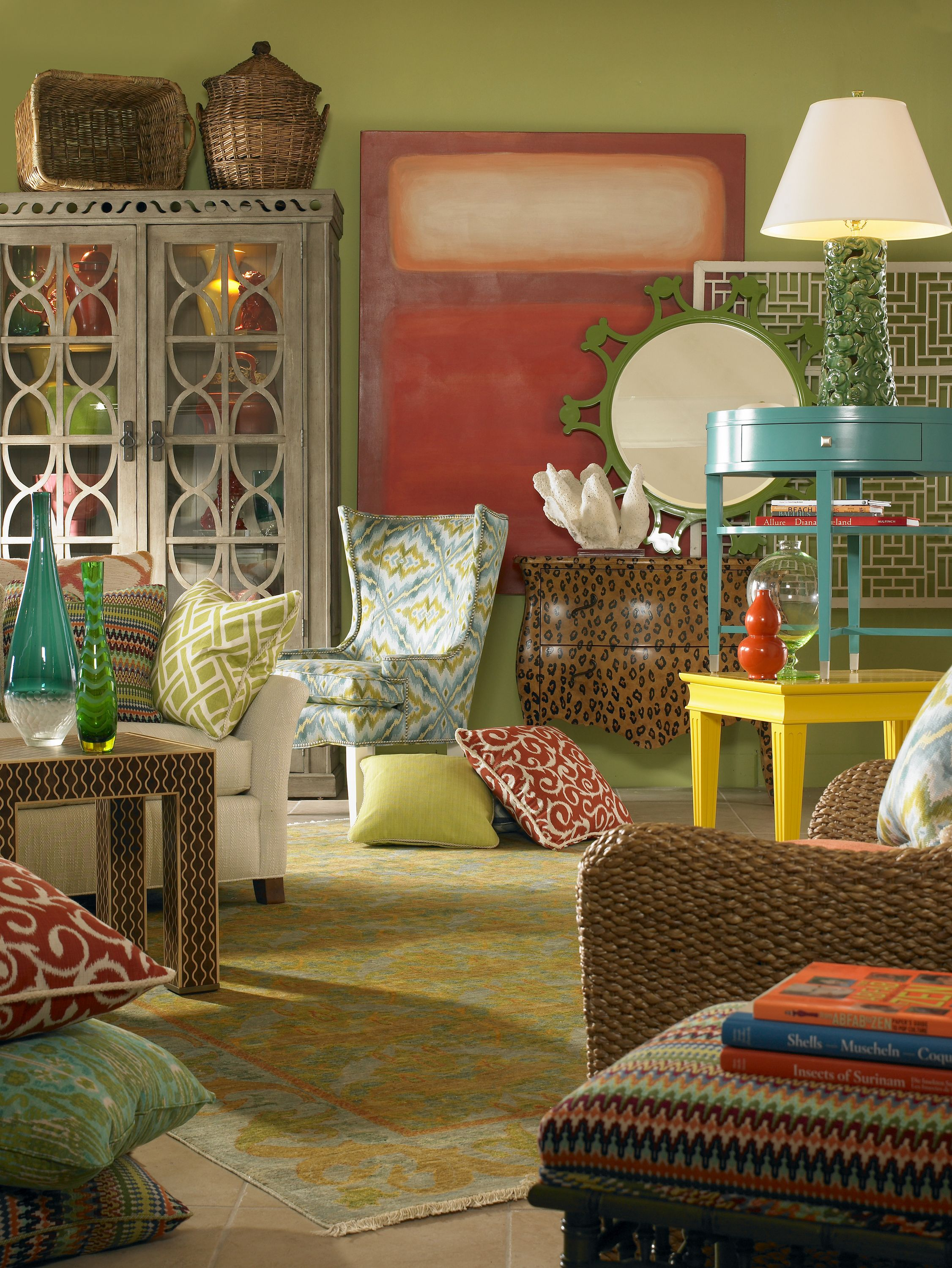 so many ideas...mirror, art, pillows, deco cabinet, side tables, etc.! #house beautiful#dreamlivingroom