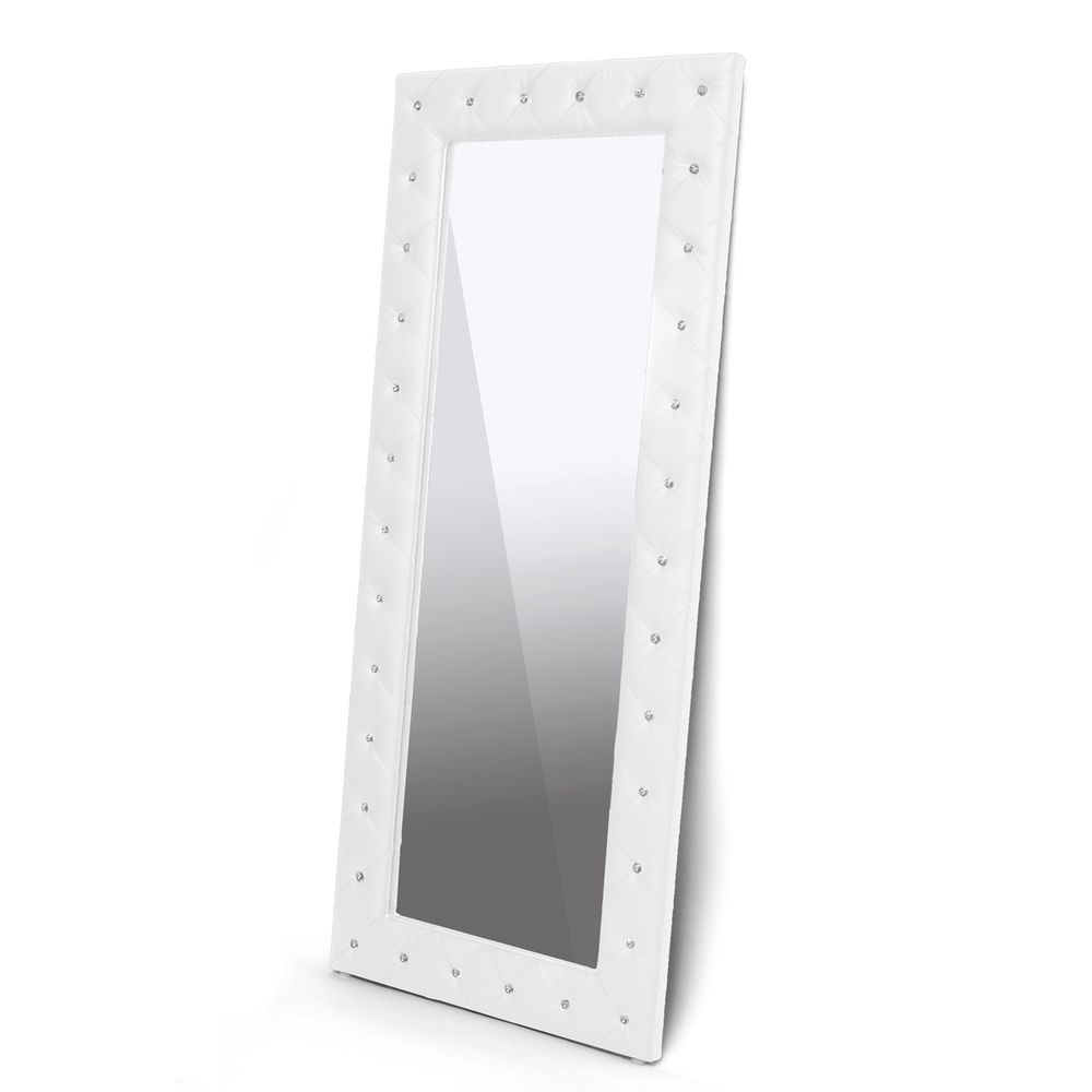 Stella Crystal Tufted Modern Floor Mirror | Overstock.com