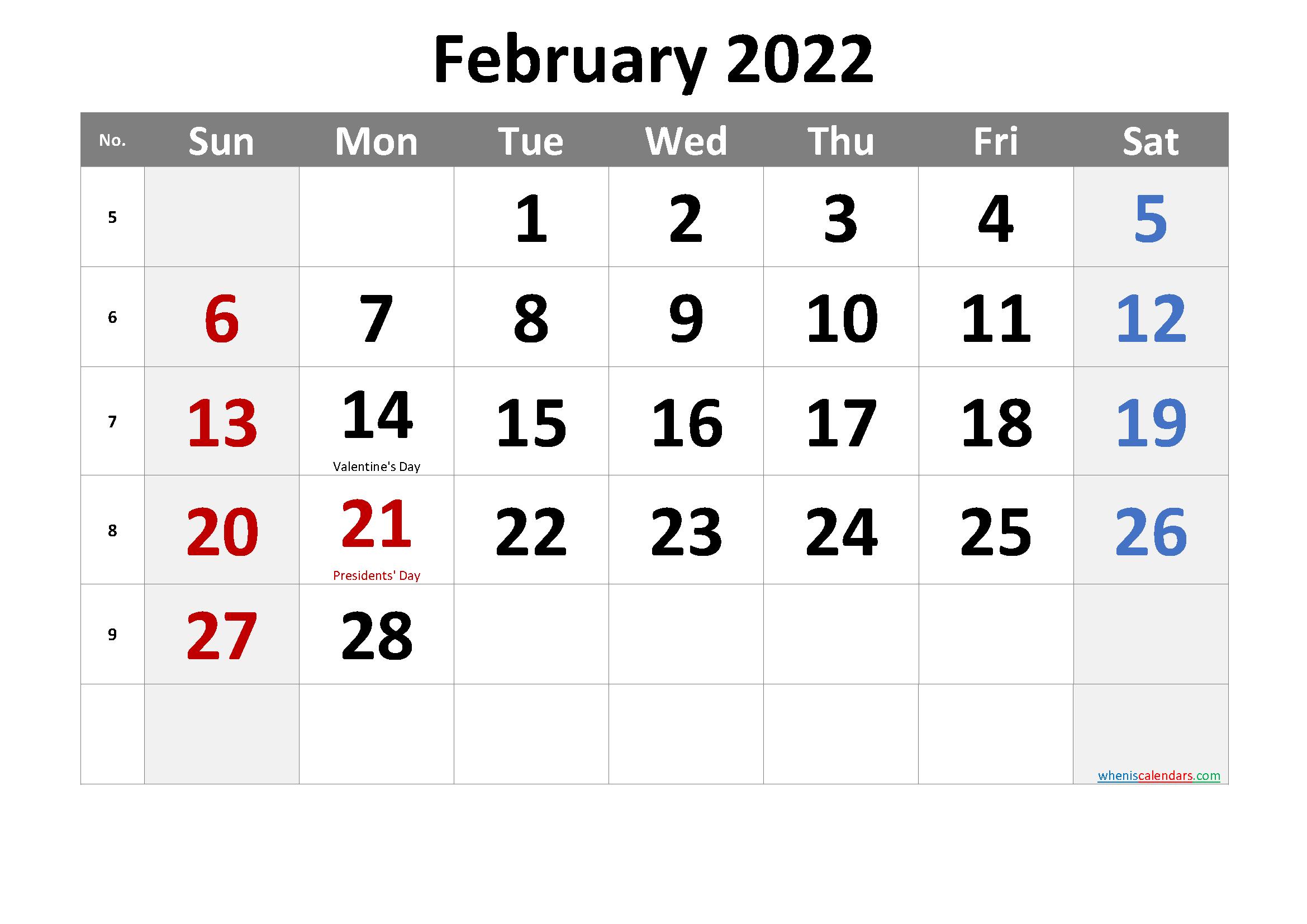 Presidents Day 2022 Calendar.Free Printable February 2022 Calendar Pdf And Png Calendar Printables Printable Calendar Template Calendar Word