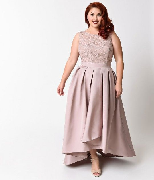 This modest high low mocha plus size dress is shorter in the front ...