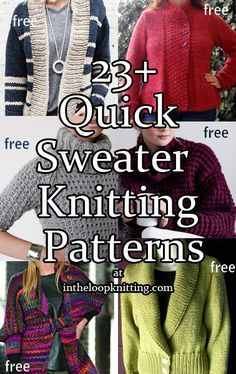 67168fbaed455e Knitting Patterns for Quick Sweaters in Bulky and Super Bulky Yarn with Easy  Stitch Patterns. Most patterns are free