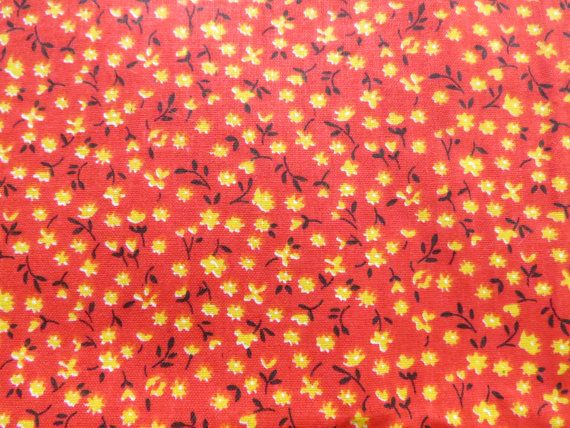 vintage cotton floral print fabric 3 yards yellow and pink country prairie rustic primitive
