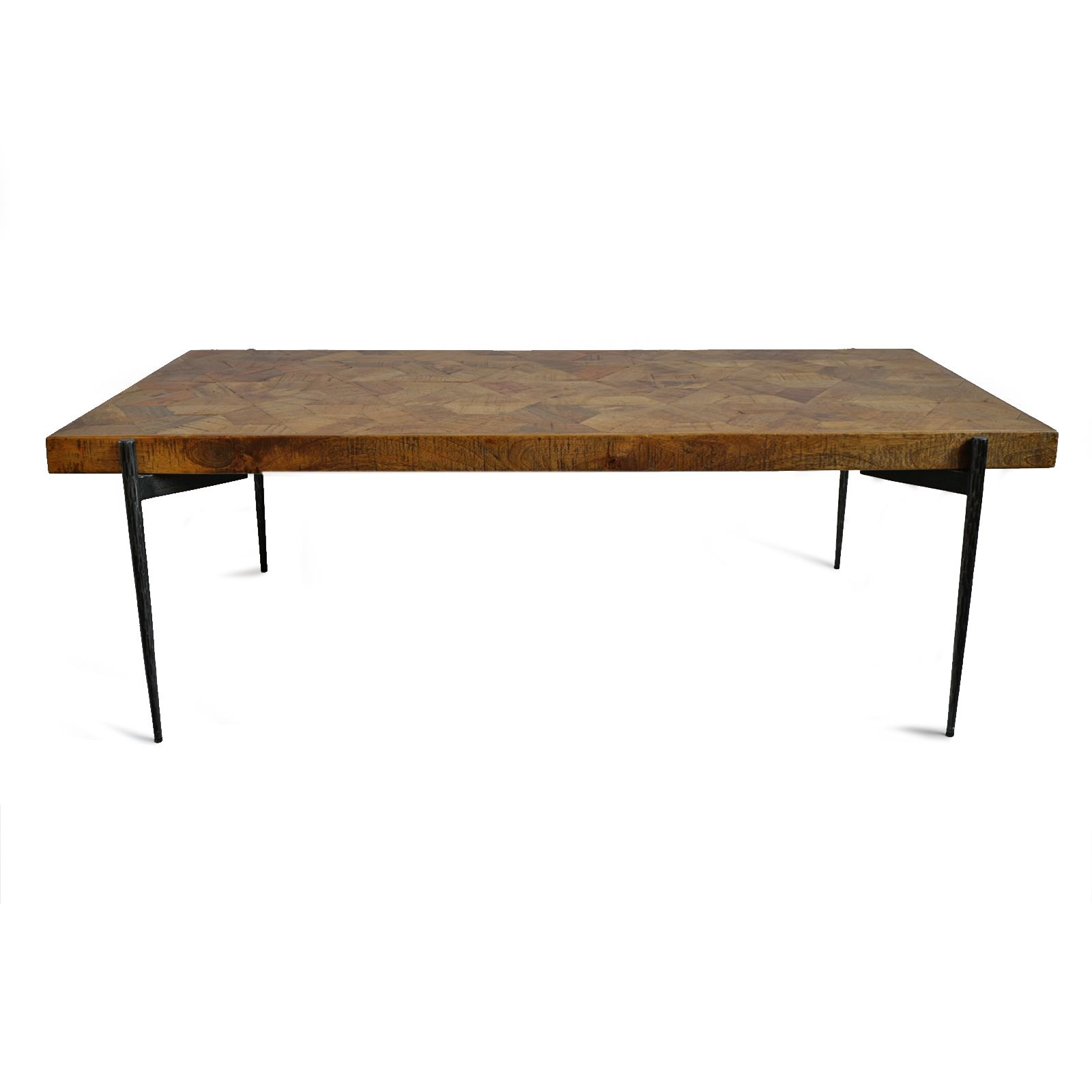 Modern Coffee Table With Narrow Black Iron Legs And Wood Table