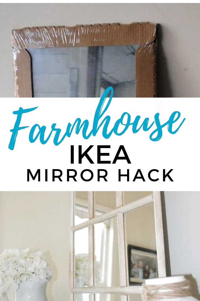 If you love Joanna Gaines and Farmhouse decor then check out this Ikea mirror hack to get farmhouse home accents for cheap. Hang this Ikea mirror in your hallway, bedroom, living room or place on a dresser. #ikeahack #ikeadiy #farmhousediy