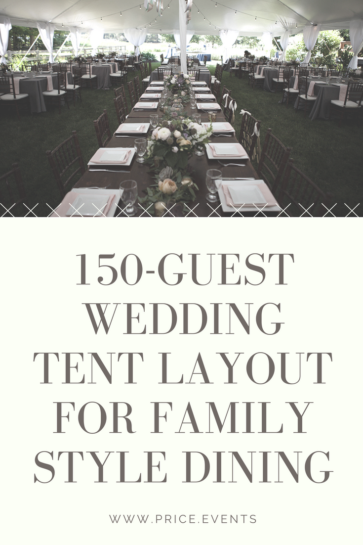 Family Style Tent Layout For 150 Guests Price Rentals Events Wedding Reception Layout Wedding Tent Layout Reception Layout
