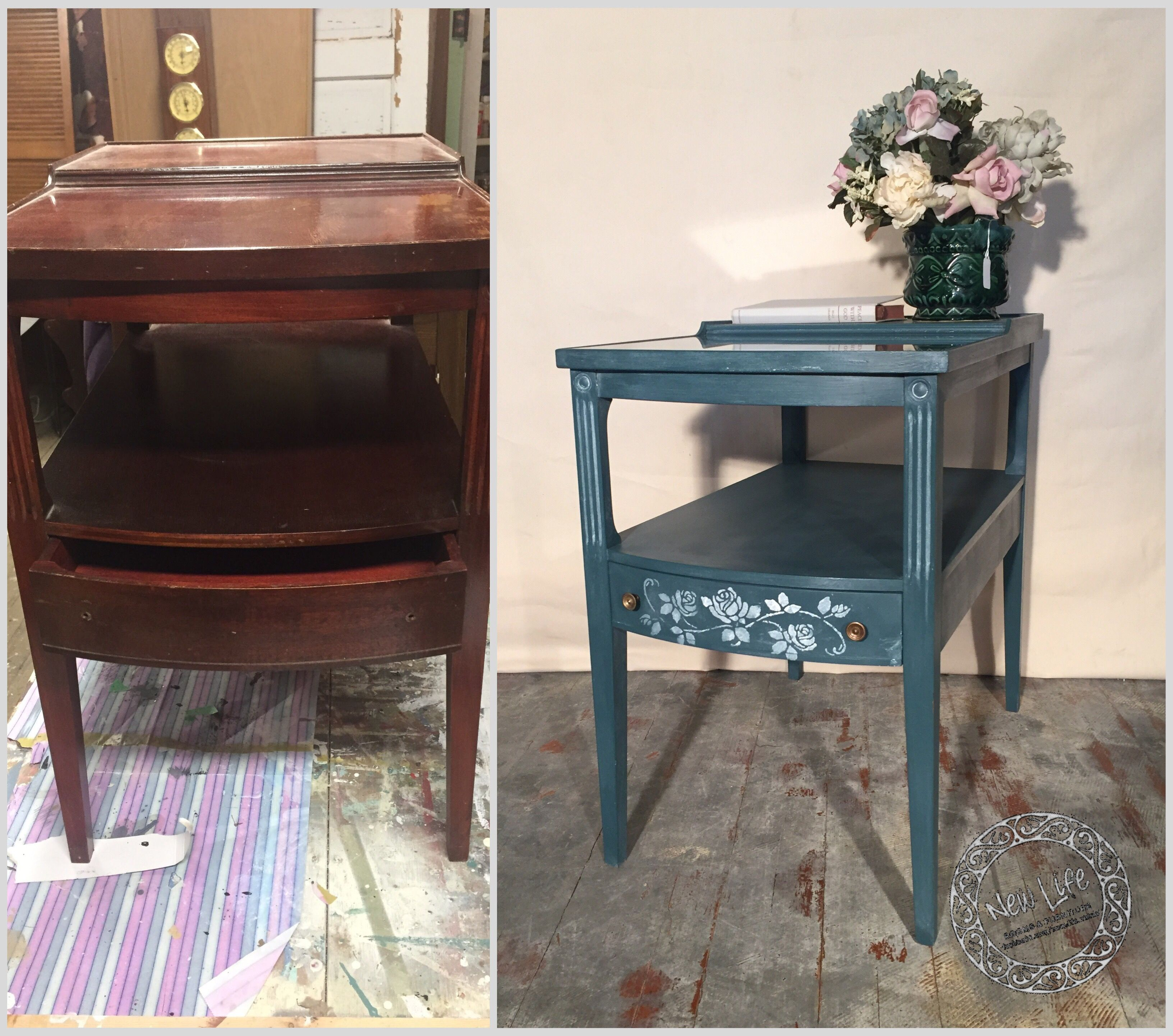 Side table painted chalk paint smoky blue and white wax https://www.facebook.com/new.life.merav/posts/1284412351607639:0
