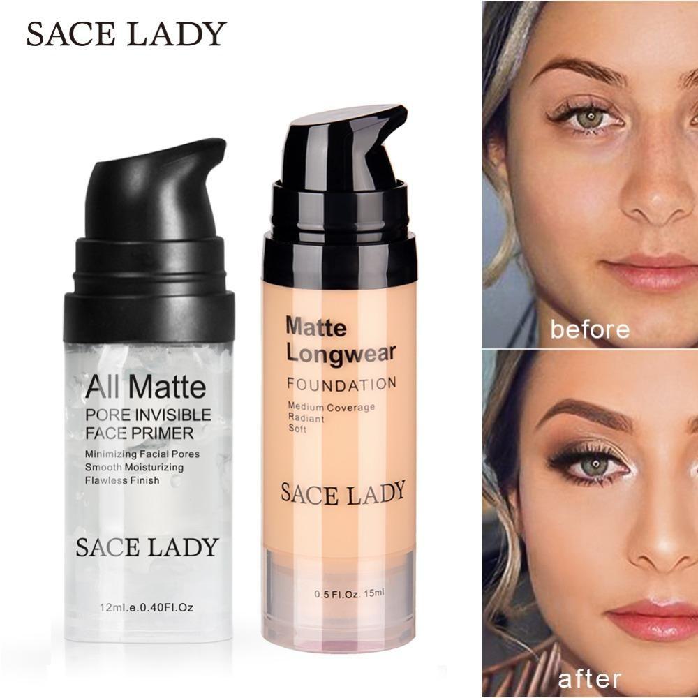 Sace Lady Face Primer Makeup Set Liquid Foundation Makeup Primer Makeup Set Makeup