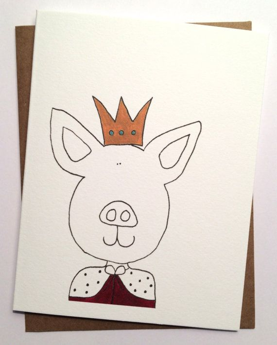 King Pig Blank Greeting Card