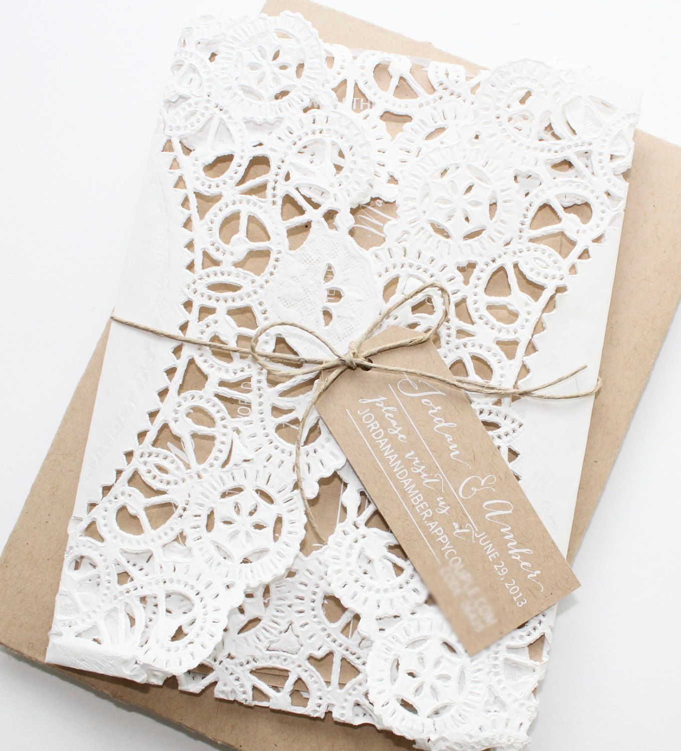 doilie over invites | Rustic Kraft Paper Doily Invitations by ...
