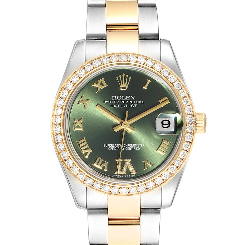 Rolex Datejust 31 Midsize Steel Yellow Gold Diamond Ladies Watch 178383 #rolexwatches
