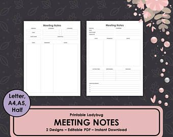 Meeting Notes Meeting Minutes Meeting Tracker Business Journal