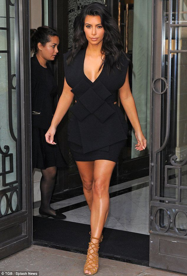 901a1acf190c Seal of approval  Kim Kardashian stepped out wearing her new favourite  label A.W.A.K.E in Paris on Sunday