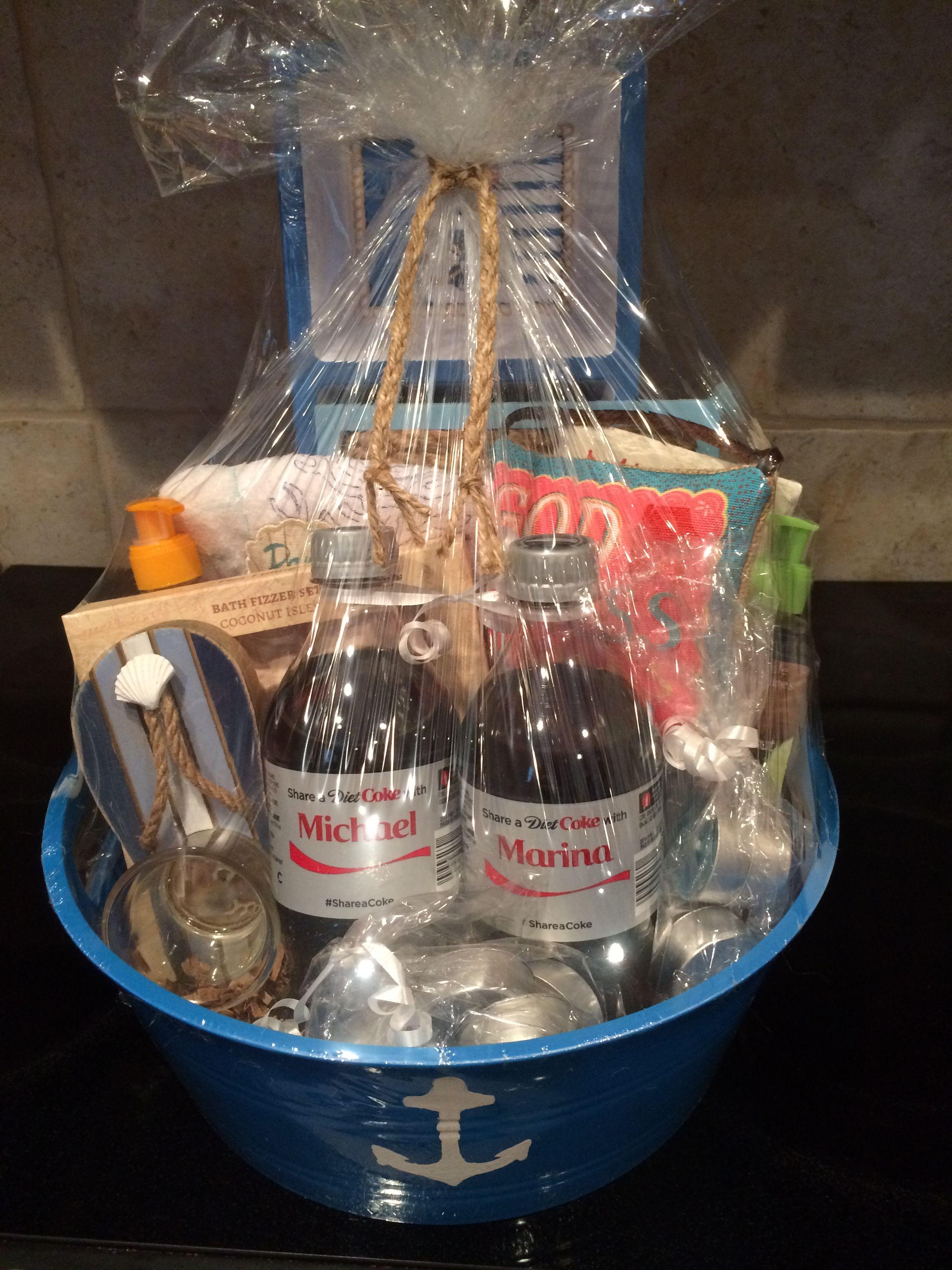 Coastal themed gift basket for a beachhouse warming gift