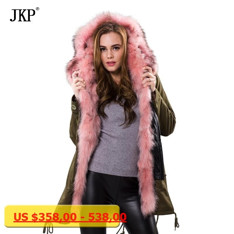 319329ff34519 Winter Jacket Women Army Green Parka Coats Real Large Raccoon Fur Collar  Fox Fur Lining Hooded