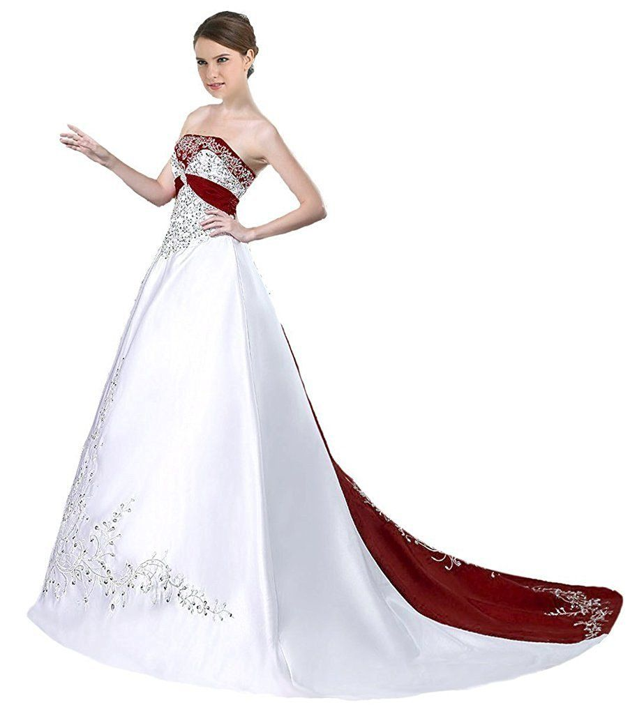Apxpf womenus satin embroidery wedding dress with cathedral train