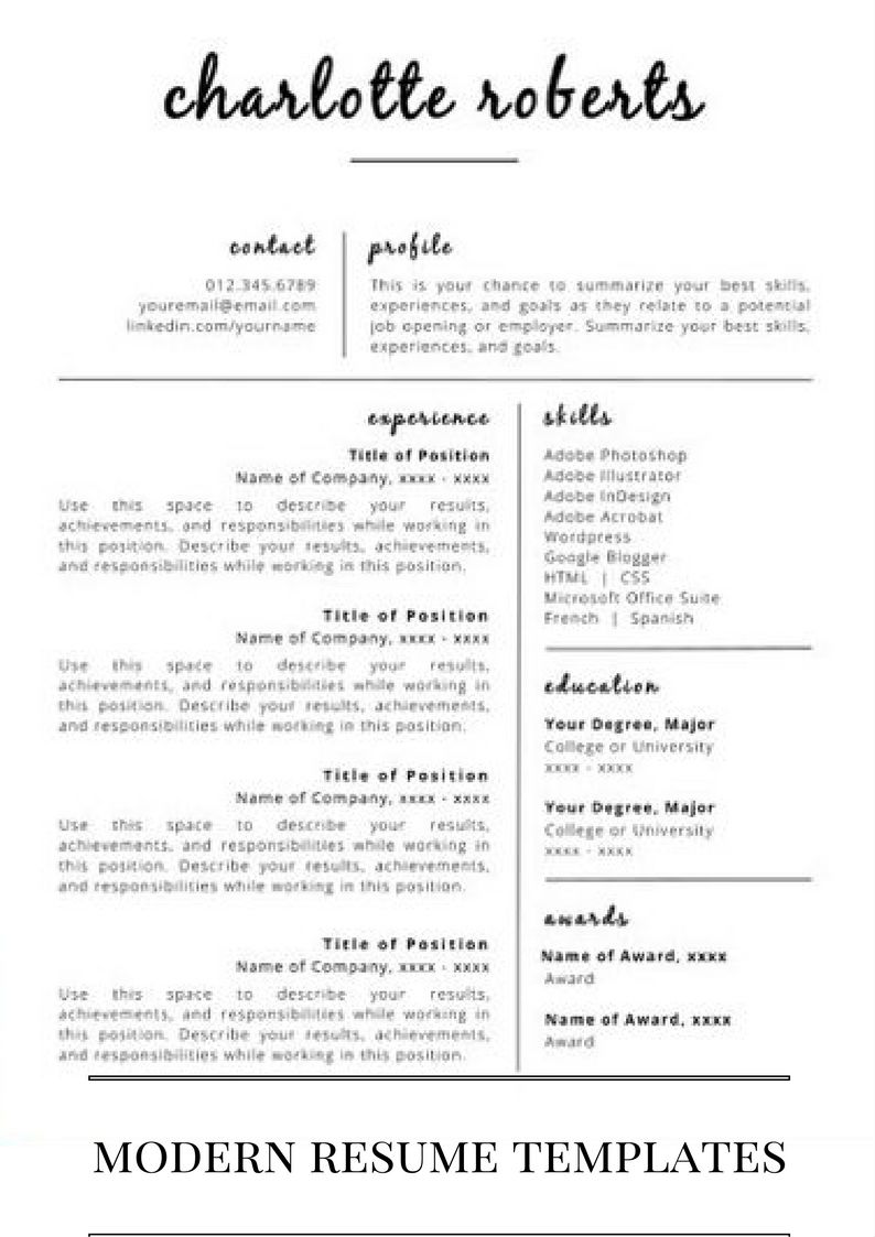 Modern Resume Templates For You  Design    Modern