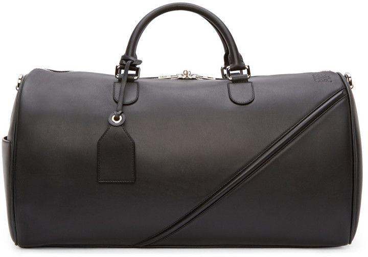 Loewe Black Leather Duffle 51 Bag