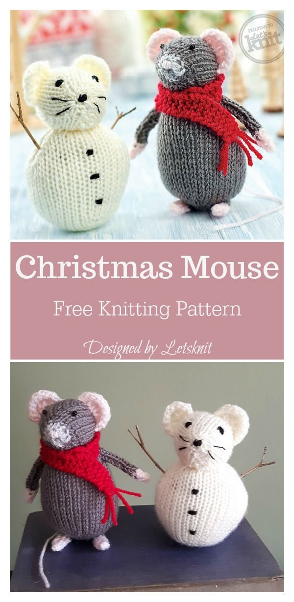 Christmas Mouse Free Knitting Pattern | stricken , Puppen, Tiere usw ...