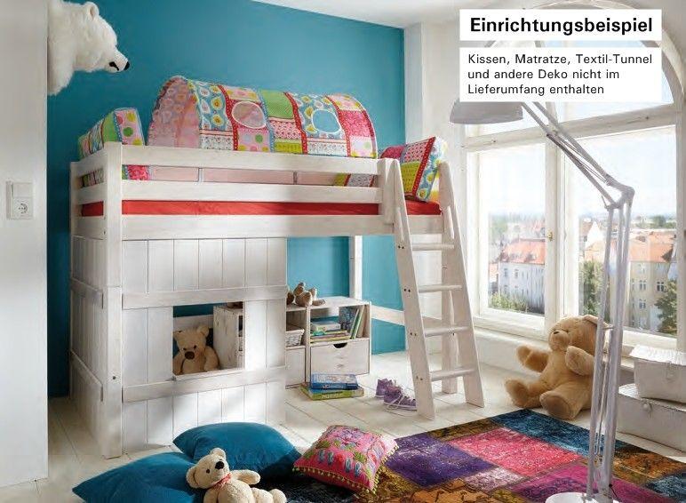 Babyzimmer kiefer ~ Details zu hochbett bett kinderbett mittelhoch spielecke