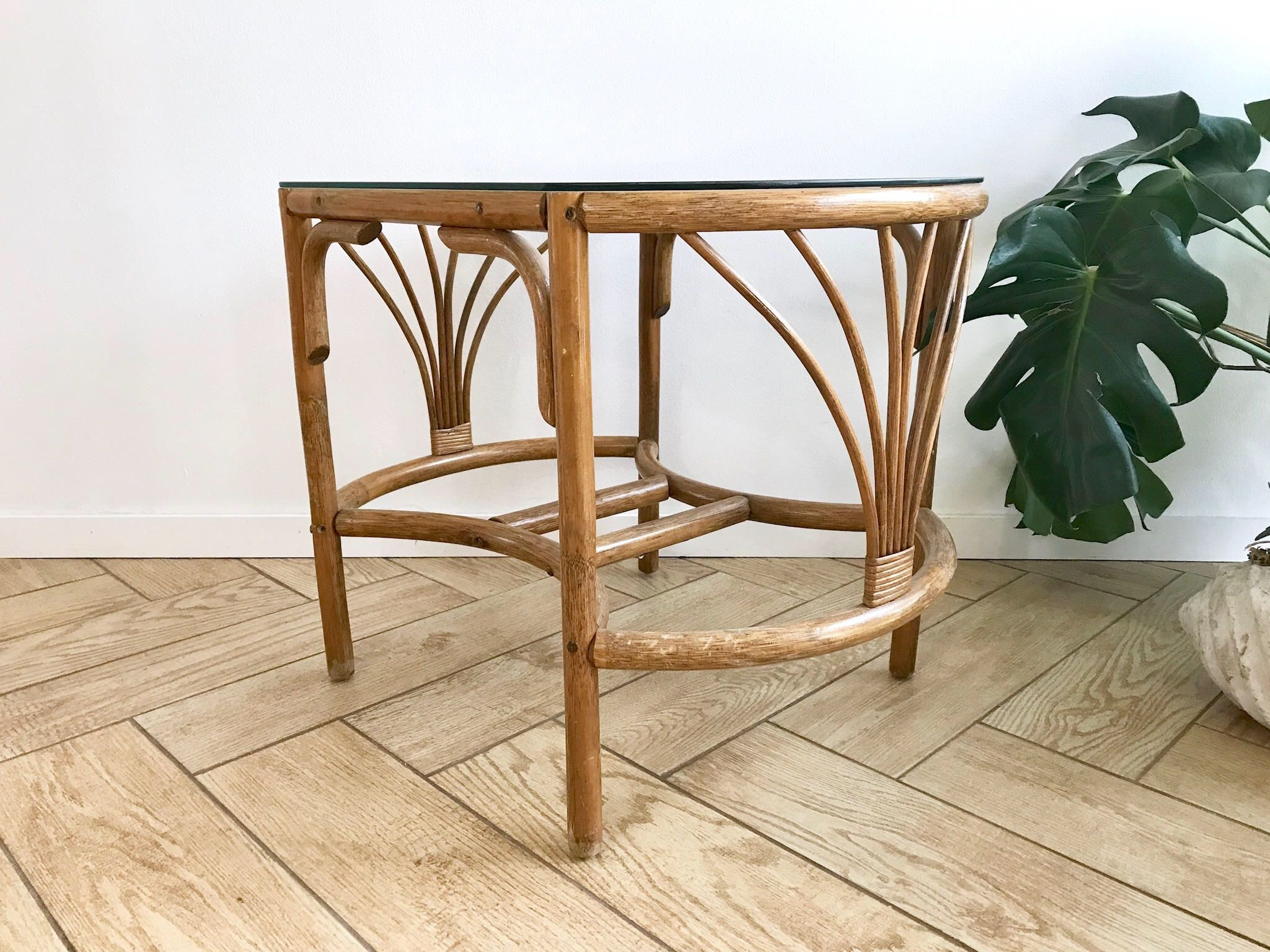 Bamboo Rattan Coffee Table Bamboo Bentwood Round Rectangular Side - Bamboo end table glass top