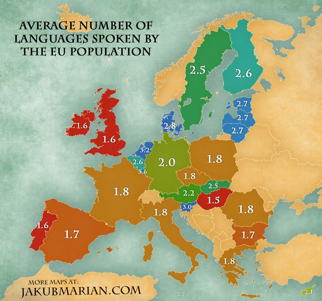 Avarage number of languages spoken by the EU population Language - new world map by population