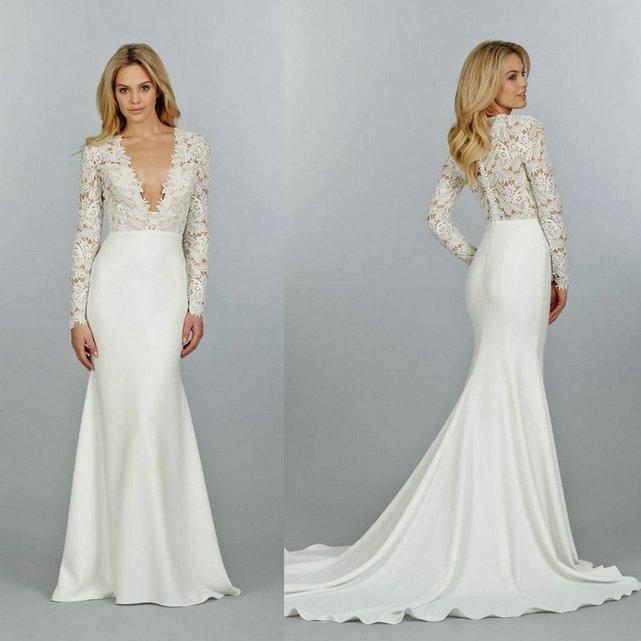 2015 Long Sleeve V-Neck Mermaid Wedding Dresses Chapel Train Sheer ...