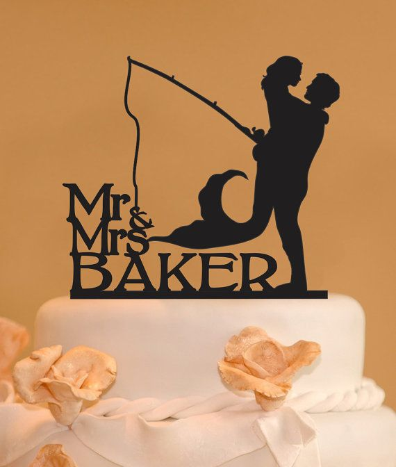 Man holding mermaid Mr. and Mrs wedding by CakeTopperConnection